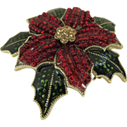 Vintage Lc Christmas Poinsettia Brooch