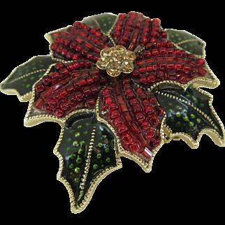 Vintage Lc Christmas Poinsettia Brooch