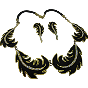 "Vintage Hand Made ""Made In France"" Brass And Leather ""Plume"" Necklace And Earrings Set"