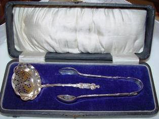 English Sterling Hallmarked Apostle Sugar Tongs & Spoon