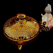 Etched Glass Amber Candy Box