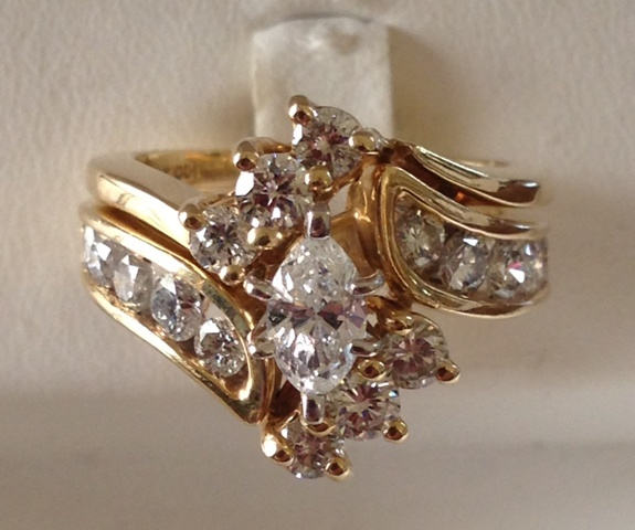 14K Gold Marquis Diamond Wedding Set