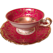 Burgundy and Gold Kunst Bavaria Cup and Saucer