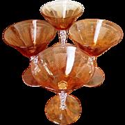 "Fostoria ""Beverly"" Amber Champagne/Sherbet Glassware"