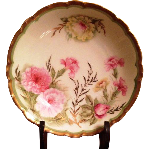 Tirschenreuth Bowl with Hand Painted Carnations