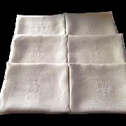 Set of 6 Fabulous French Antique Monogrammed Linen Damask napkins/ lapkins