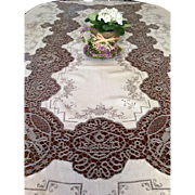 Vintage Ecru and Coffee Lace Tablecloth