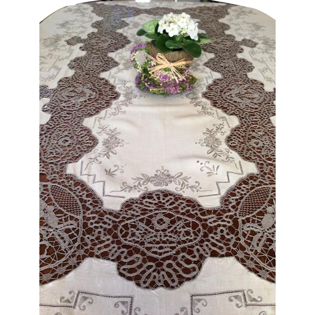Vintage Ecru And Coffee Lace Tablecloth From