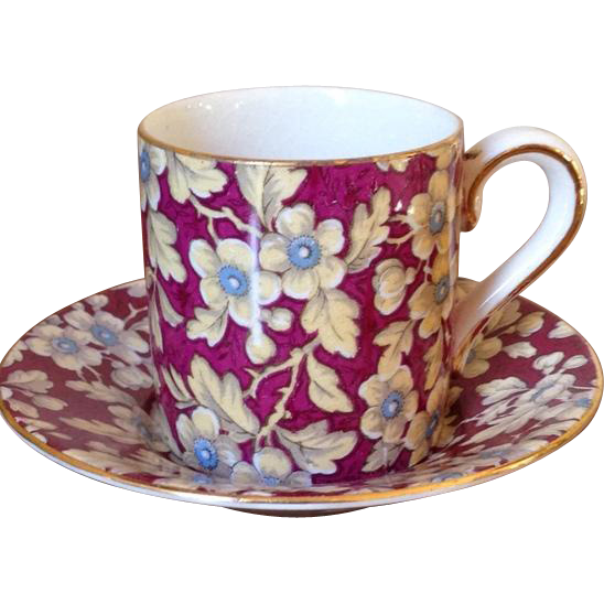 Vintage Burgundy Floral Chintz BCM Nelson Ware Demitasse Cup and Saucer.