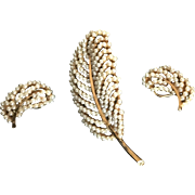 BSK Faux Pearl Leaf Design Pin and Earrings