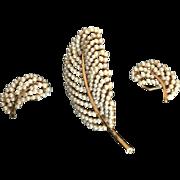 BSK Faux Pearl Leaf Design Pin and Earrings