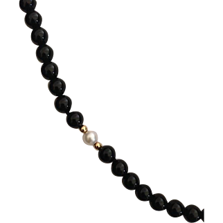 Black Onyx Pearl and Gold Bead Necklace