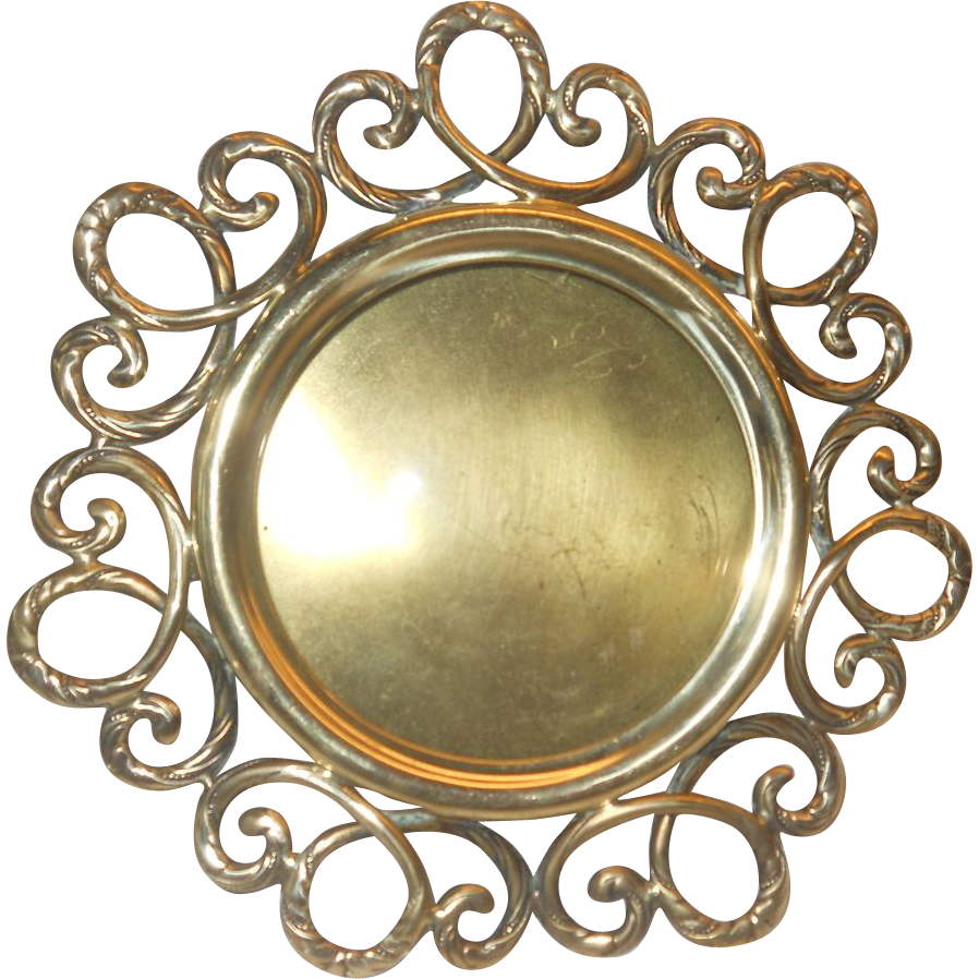 Photo frame art nouveau brass round shape from