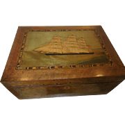 Wood Inlaid Antique Box - 19th C with ship inlay