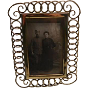 Brass antique wedding ring photo frame with ornate corners - large