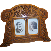 Art Nouveau Carved Wood Photo Frame - Double openings