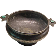 Arts & Crafts Pewter Bowl with Enamel Ruskin type decoration or Jardiniere