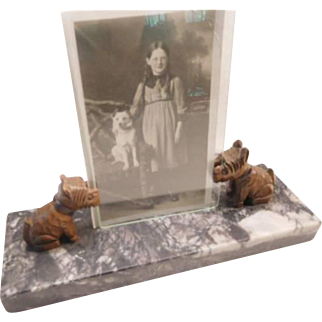 Photo frame with carved scottie dogs