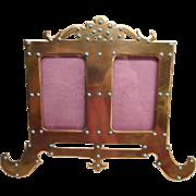Brass & Turquoise double photo frame - Art Nouveau large size