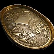 Art Nouveau - Arts & Crafts Oval Brass Tray