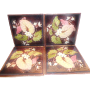 Majolica Art Nouveau Tiles  -  Set of 4