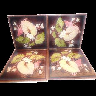Majolica Art Nouveau Tiles  -  Set of 4