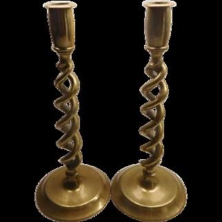 Brass Barley Twist Candlesticks - Vintage