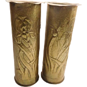Art Nouveau Brass vase - pair hand made