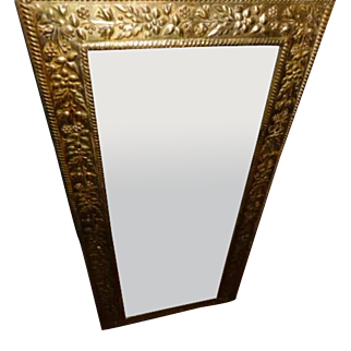 Mirror - Edwardian period English Patterned brass