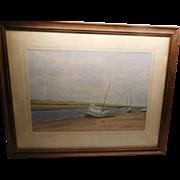 "Watercolor - Sail Boats ""Low Tide at Blakeney"" l920's"