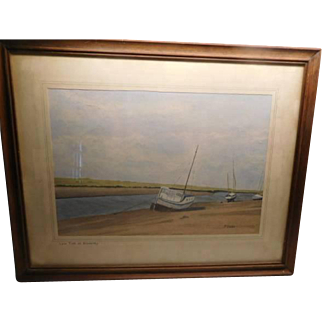 "Watercolor - Sail Boats ""Low Tide at Blakeney"" l920's"