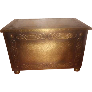 Arts & Crafts Brass Scottish Flat Topped Coal Box