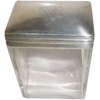 Sterling Topped Dresser Jar - English Hallmark around 1905
