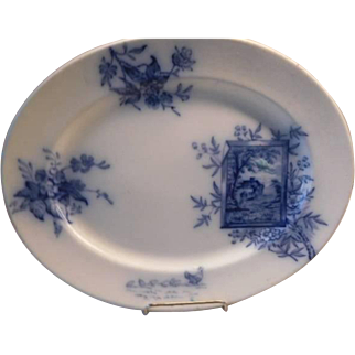 Platter Antique Davenport - Blue & White - early Aesthetic