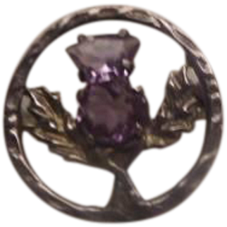 Scottish Sterling Brooch Vintage with glass Purple Stone