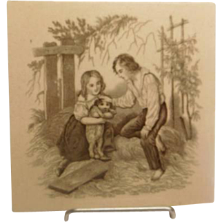 Minton Tile - Children with Dog probably William Wise.