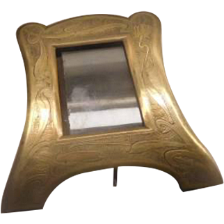 Art Nouveau Brass Photo Frame - Inlaid pattern - MUST SEE