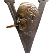 Winston Churchill - display piece hand forged head in V sign with cigar