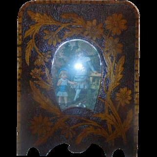 Pokerwork Antique Photo Frame French pyrography