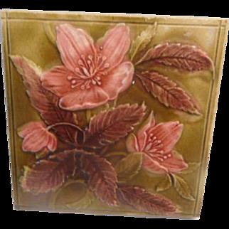 Antique Victorian Floral TIle
