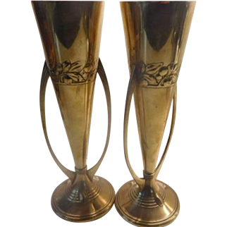 WMF Brass Vases - Pair with Ostrich Mark