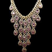 1940s Victorian Revival Festoon Necklace, Amethyst Glass Stones