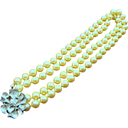 Lisa Jewelry Co. Faux Pearl Opera Length Necklace, Designer Signed 1960s