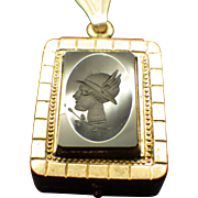 Art Deco Cameo Locket Carnelian Gemstone, Intaglio Cameo Reverse Rose Gold Filled