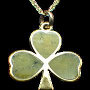 9k Genuine Natural Connemara Irish Marble Nine Carat Clover Pendant, 14k Gold Chain