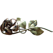 1940s Krementz Signature Rose Larger Brooch, Two Tone Rose Yellow Gold Overlay