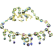 Kirks Folly Signed Aurora Borealis Crystal Drop Necklace, Multi Faceted For Your Holiday
