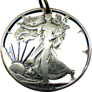1942 Walking Liberty Coin Pendant, World War Two Silver half Dollar