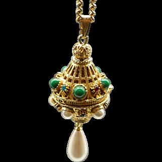 Rare Florenza signed Locket Pendant Necklace Unique 1960s