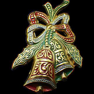 Spanish Damascene Holiday Bells Pin, 1950s Spain